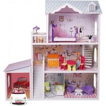 houten poppenhuis met garage Charlene 123,5 cm 14-delig