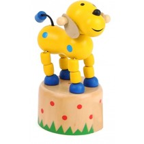 drukfiguur hond geel/blauw 4,5 x 4,5 cm