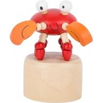 drukfiguur krab rood/oranje 6 x 4,5 cm