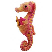 knuffel zeepaardje junior 30 cm pluche oranje/roze