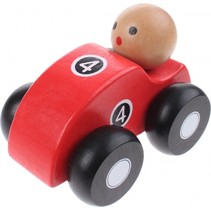 houten raceauto rood 10 cm