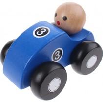 houten raceauto blauw 10 cm
