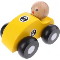 houten raceauto geel 10 cm