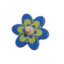 blauw-gele bloem 10 cm hout