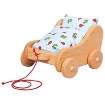 poppenwagen met kussens 24 x 22 cm blank