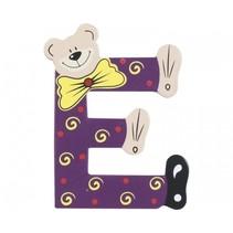 letter E beer hout 10 cm