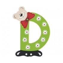 Letter D beer hout 10 cm groen