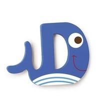 letter D walvis blauw 5.5 cm