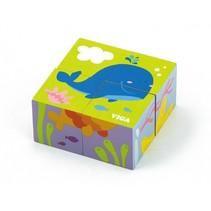 blokkenpuzzel Zeedieren junior hout 4-delig