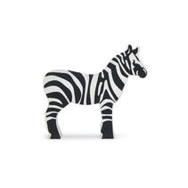safaridier Zebra junior 8,8 x 8,3 cm hout zwart/wit