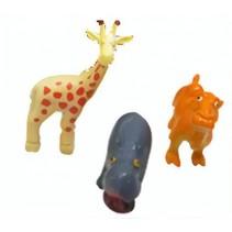 mini wilde dieren 3 stuks 5 cm geel/oranje/grijs
