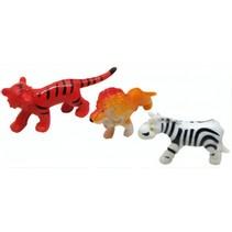 mini wilde dieren 3 stuks 5 cm rood/oranje/wit