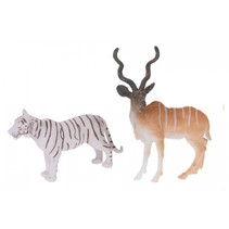 dierenset 2-delig tijger en antilope 8 cm