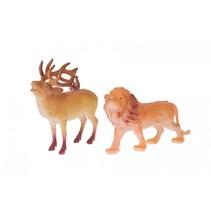 dierenset 2-delig leeuw en damhert 8 cm