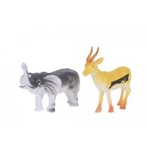 dierenset 2-delig olifant en springbok 8 cm