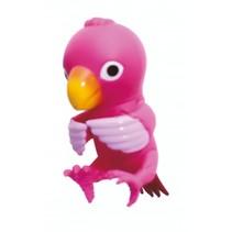 pratende papegaai 9,5 cm roze