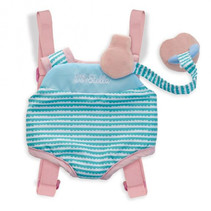 draagzak pop meisjes 28 cm polyester blauw/roze/wit
