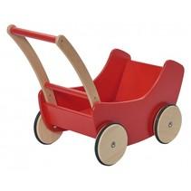poppenwagen hout 45 cm rood/bruin