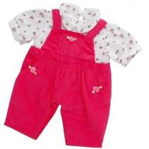 poppentuinbroek met shirt 30-36 cm roze/wit