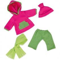 kledingset 38 cm roze/groen 4-delig