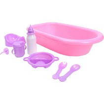 babybad met accessoires roze 8- delig 39 cm