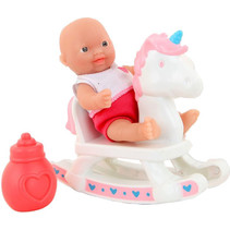 babypop met hobbelpaard Anmiya 12 cm