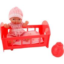 babypop met bed Anmiya 12 cm