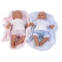babypoppen Alba & Mark 30 cm met deken roze/blauw