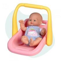 babypop Mini Baby met draagstoel 28 cm roze