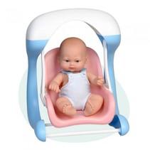 babypop Mini Baby met babyschommel 28 cm blauw/roze
