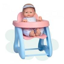babypop Mini Baby met kinderstoel 28 cm blauw/roze