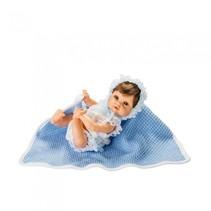 babypop in deken 25 cm blauw