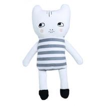 knuffelkat junior 20 cm polyester wit/grijs