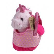 knuffel eenhoorn in tas junior 20 cm pluche roze