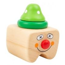 melktanddoosje Clown hout 5 cm blank/groen