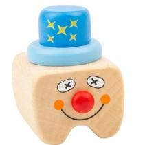 melktanddoosje Clown hout 5 cm blank/blauw