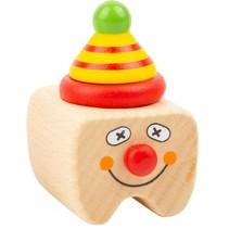 melktanddoosje Clown hout 5 cm blank/rood