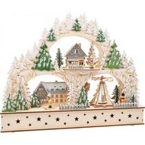 kerstaccessoire Winter Village Arch hout 50 cm blank