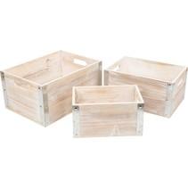 opbergboxen Industrial Style hout 36-26 cm 3-delig