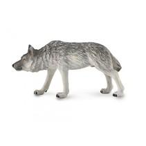 speelfiguur wolf op jacht grijs 10 x 5 cm