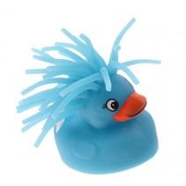 fluffy eend met licht 5 cm blauw