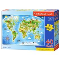 vloerpuzzel World Map 40 stukjes Maxi