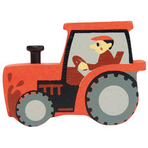 tractor junior 8 cm hout rood