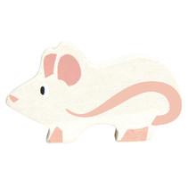 muis junior 5 cm hout wit