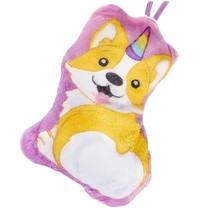 knuffel hond junior 13x10 cm pluche roze/wit/bruin