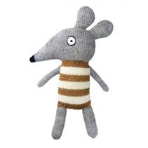 knuffelmuis junior 20 cm alpaca wol grijs/geel