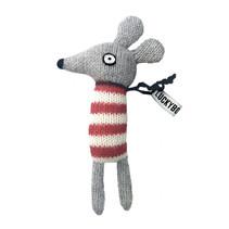 knuffelmuis junior 14 cm alpaca wol grijs/rood
