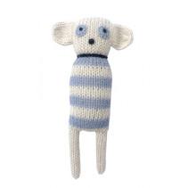 knuffel muis wit/blauw 14 cm