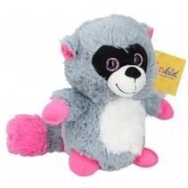 knuffel wasbeer 22 cm pluche grijs/roze