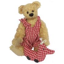 knuffelbeer Teddy Rosalie 20 cm pluche beige/rood